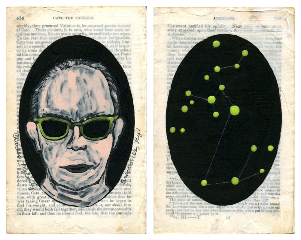 "JUDITH PAGE Holes of Truth Tar Gel, acrylic, gesso, graphite, mixed media on ""Plutarch's Lives."""