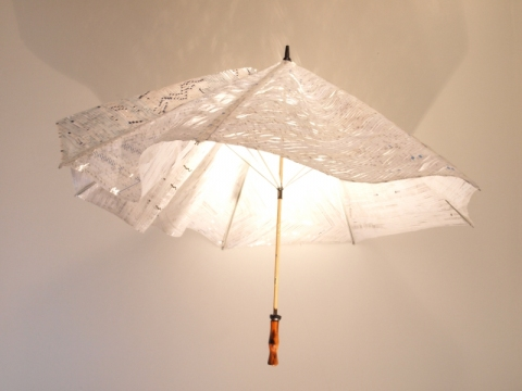 Judith Robertson Sculpture Shredded Bank Checks / Umbrella