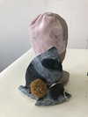 Ceramic Work Glazed Clay, Wool Pom-Pom