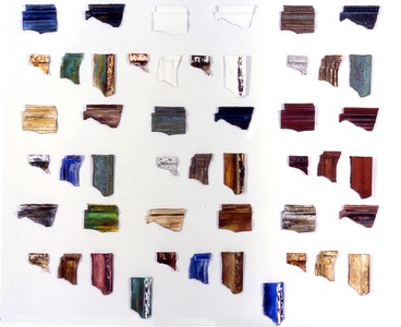 Judith Uehling Cast Paper Sculpture Ceramic roof tiles, Cast Paper, Bronze, Pigment, Silkscreen