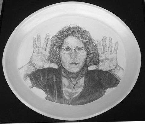 Self  Portrait Series Silverpoint on Ceramic