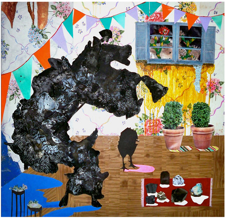 Julia Freeman American Pastoral Collaged fabric, tar paper, paper, photographs and wallpaper on wood panel