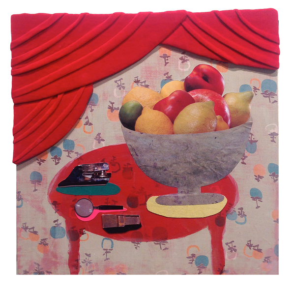 Julia Freeman Good Manners  Red velvet, fabric, personal photographs on wood panel