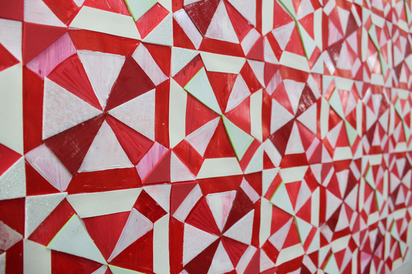 Full Pattern Red Duct Tape, acrylic, sticky foam, and felt on frosted acetate