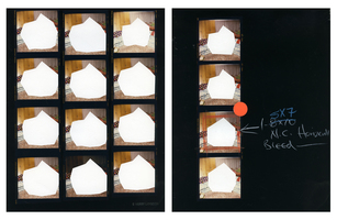 Julie Weber Undisclosed Typologies 2 found chromogenic contact prints, partially peeled, sticker, grease pencil