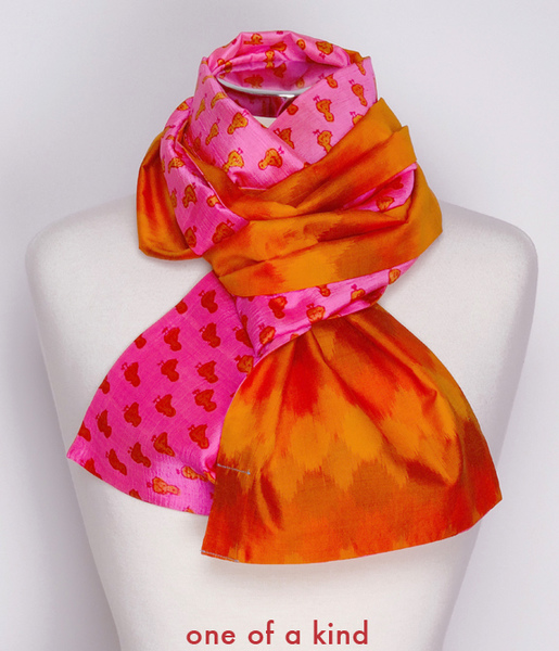 juli raja dual sided scarves mulberry silk & handwoven ikat cotton and silk