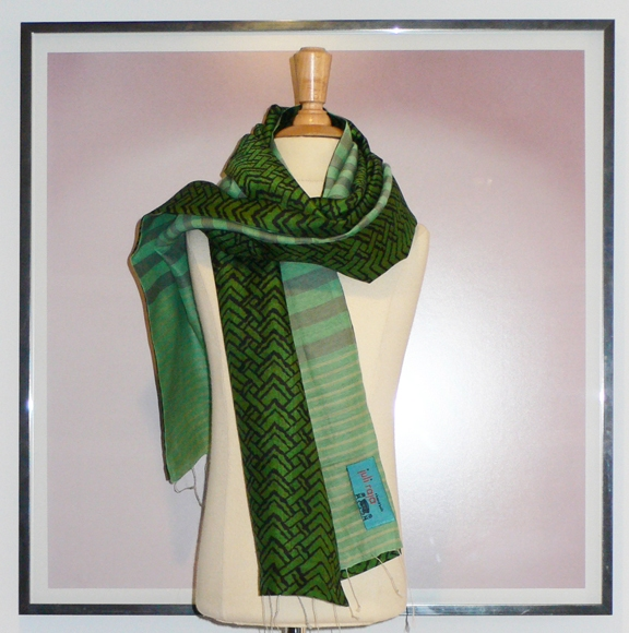 past collections-scarves  leaves of green