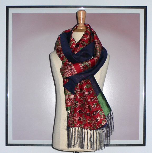 past collections-scarves  red, stripe & blue