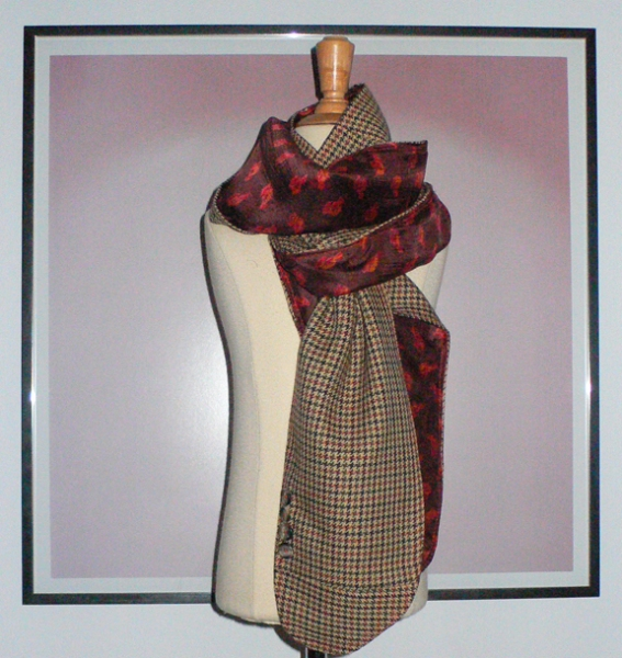 past collections-scarves  brown bird