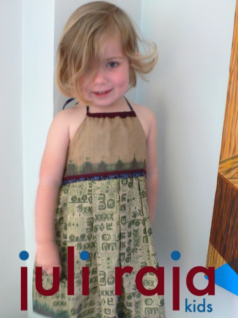 juli raja hand built style ruby blues square bib, reversible dress SOLD