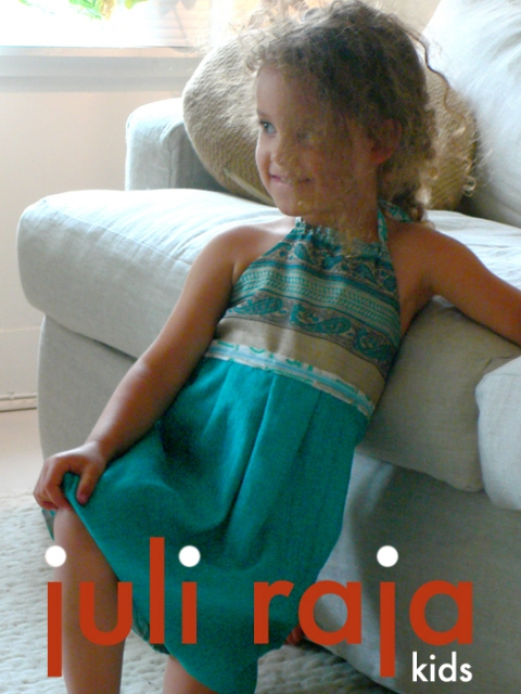 juli raja hand built style teal square bib reversible dress $65