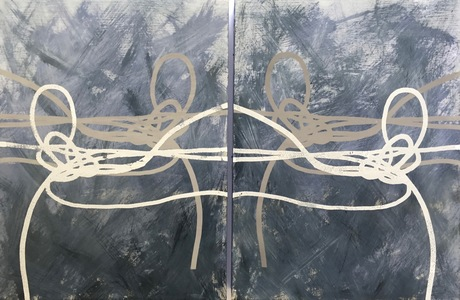 Jen Greely Knot Series Encaustic on birch panel