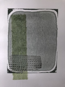 Jen Greely Loose Threads Print Series collograph print with hand-stitched chine colle