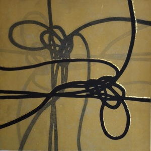 Jen Greely Knot Print Series Carborundum Aquatint Monotype with 22kt gold leaf on Hahnemuhle Paper
