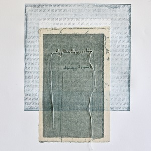Jen Greely Loose Threads Print Series collagraph and etching monoprint with chine collè and thread