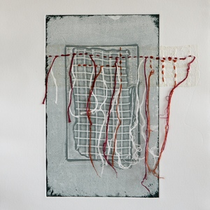 Jen Greely Loose Threads Print Series collagraph monoprint with chine collè and thread