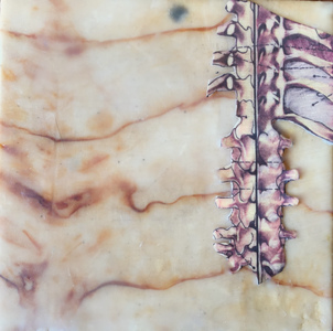 Jen Greely Works on Wood Mixed Media: encaustic with paper on rust-printed fabric over cradled birch