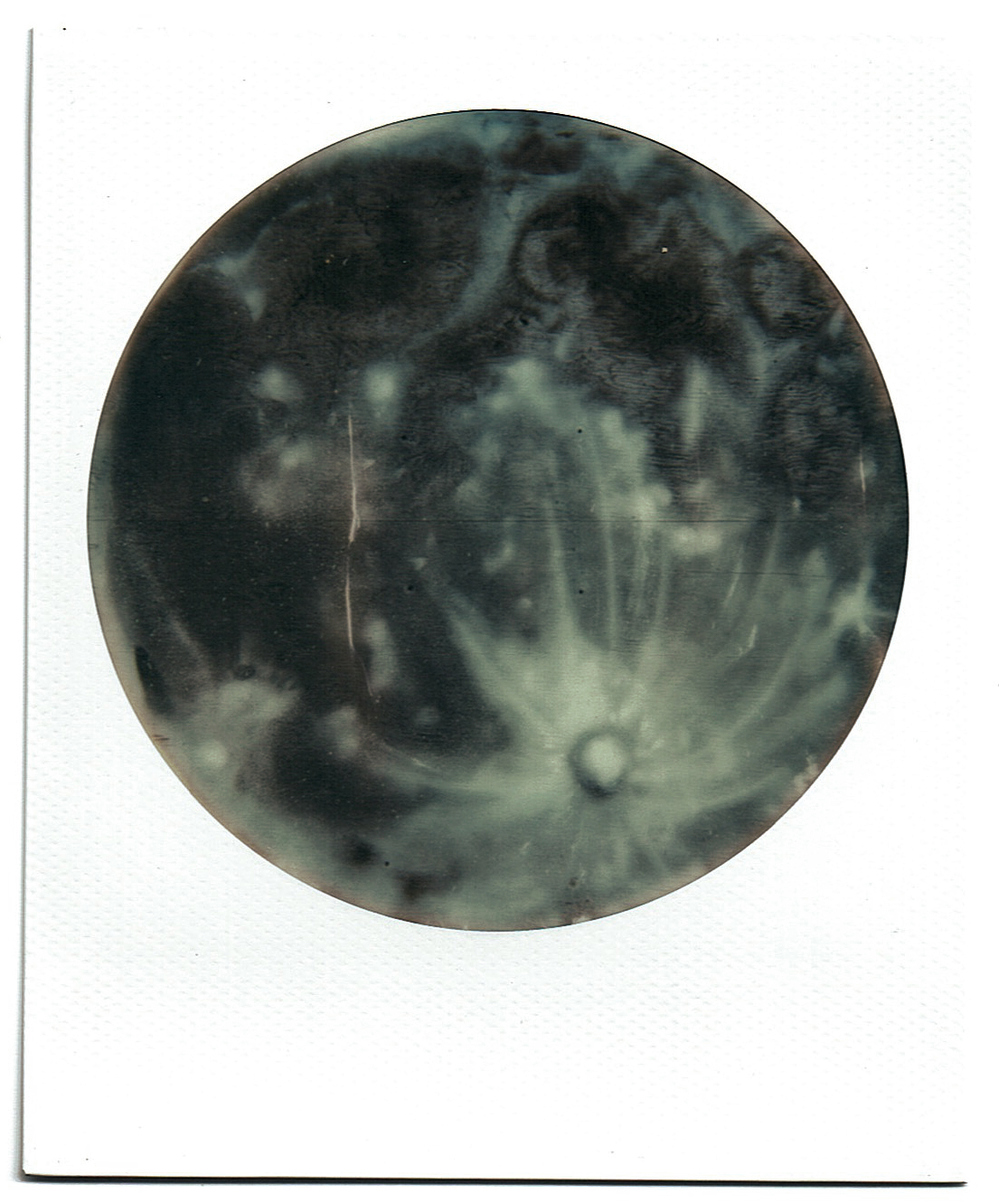 STUDIO White Circle Frame Polaroid of Spray Painted Moon, 2017