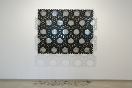 KANISHKA RAJA I Have Seen The Enemy And It Is Eye 2008-09 painted aluminum, dye sublimated print, polished steel