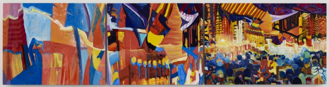 KANISHKA RAJA Postwest 1: Switzerland for Movie Stars, v. 1; 2012 oil on 3 panels