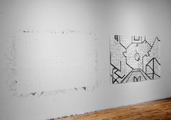 KANISHKA RAJA Postwest 3: Lines of Control pencil and eraser on paper, pencil dust, eraser shavings, paper, wall