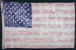 KANISHKA RAJA Selected Work 1990 - 2000 handcut woodblock print and acrylic paint on bleached flag
