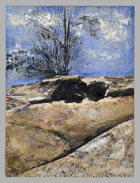 Karen Bright Cahoon Hollow Series Encaustic over gicleé on cradled birch board