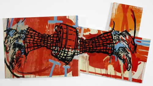 Karen Ganz Guns and Money  oil paint on overlapped canvases