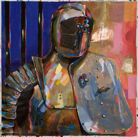 Karen Heagle 2013  Battle Armor/Pasolini acrylic, ink, collage gold and copper leaf on paper