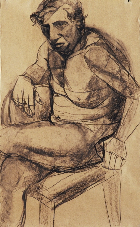 Karen Mahan  selected drawings oil on kraft paper