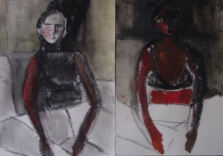 Karen Mahan  1993-1997  charcoal and watercolor on paper