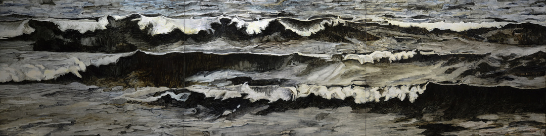 Karen Owsley Nease Wave Series oil paint on cradled wood panels