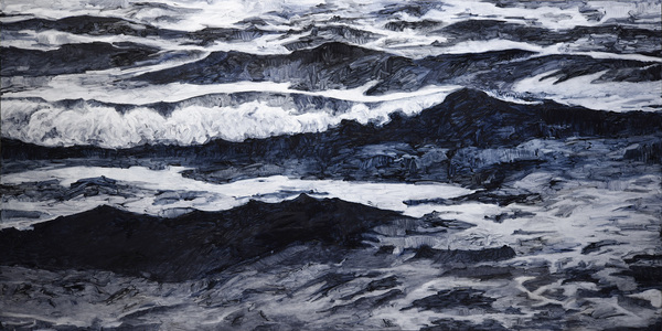 Karen Owsley Nease Wave Series oil paint on cradled wood panel