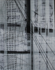 Karen V. Neems Grid Series inkjet photograph, graphite on mylar, string, fencing