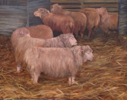 The Purple Hen Paintings| Karen Schlansky Animal paintings Oil on canvas