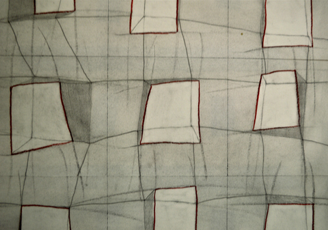 Spatial Fields graphite, charcoal, and colored pencil on paper