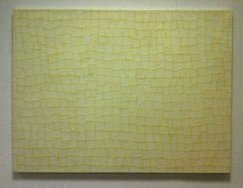 Collage-Paintings from hospital gowns (2011) Untitled (Yellow Pads)