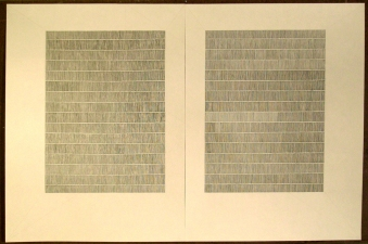 Laid Line Drawings, large (2007-08) ink and colored pencil on laid paper