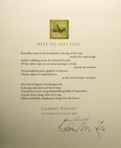 Karie O'Donnell Poetry Broadsides Charles Wright