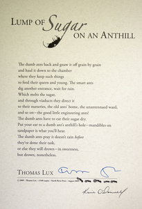Karie O'Donnell Poetry Broadsides Thomas Lux