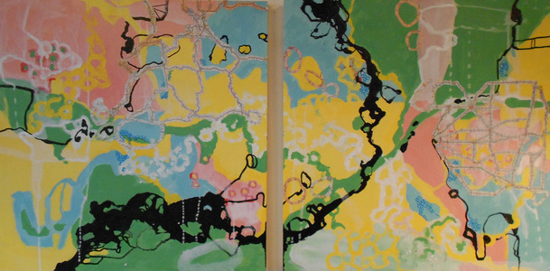 Kari Feuer Acrylic/collage:  GPS series Acrylic, ink, collaged maps on panel