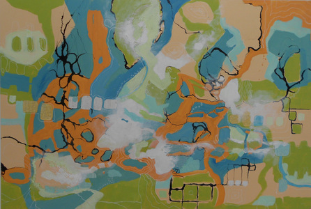 Kari Feuer Acrylic/collage:  GPS series Acrylic and collaged text on panel