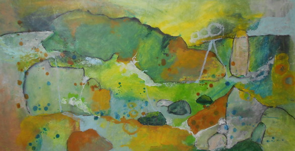 Kari Feuer Painting on the Edge: Northwest Residency series Acrylic and ink on Tyvek, mounted on board