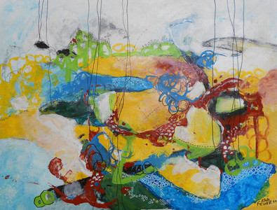 Kari Feuer Painting on the Edge: Northwest Residency series Acrylic and ink on Tyvek