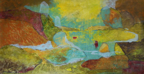 Kari Feuer Painting on the Edge: Northwest Residency series Acrilic and ink on Tyvek, mounted on board