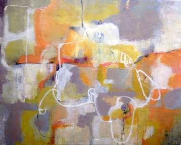 Kari Feuer Abstracts in oils Oil and Cold Wax on Linen