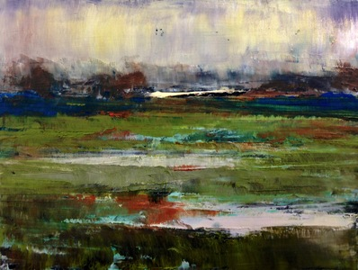 Kari Feuer Coastal Scenes Oil and cold wax on panel