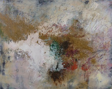 Kari Feuer Abstracts in oils Mixed media and cold wax on panel