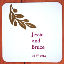Kate Emlen Coasters linoleum cut and metal type