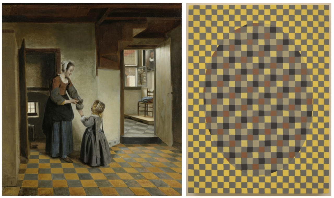 """Paintings by Men"" De Hooch Panel with ""source painting,"" A Woman with a Child in a Pantry (Pieter De Hooch, 1658)"